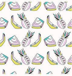 Memphis tropical fruit pattern pinapples bananas vector