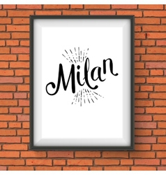 Milan Message on White Frame Hanging on the Wall vector