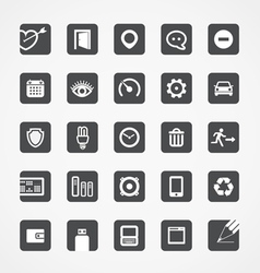 Modern square web icons collection vector image