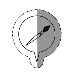Monochrome contour sticker with brush icon in vector