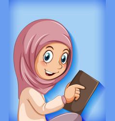 Muslim girl reading book vector