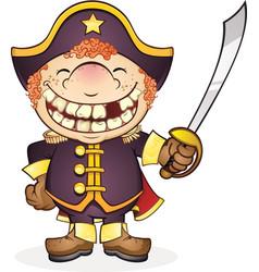 Navy boat captain cartoon character vector