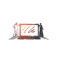 Online business communication concept sketch hand vector