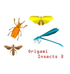 Origami paper insects vector image