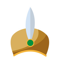 Ornament hat of wise king decoration feather jewel vector