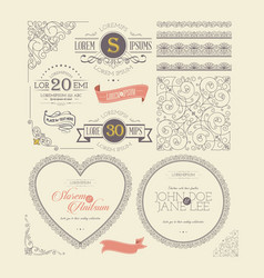 ornate frames vintage labels and lace elements vector image
