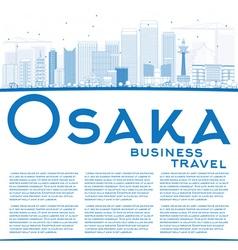 Outline Osaka Skyline with Blue Buildings vector