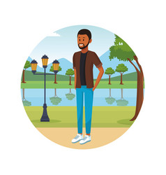 person alone at city park cartoons vector image