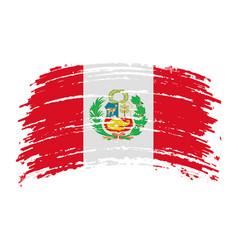 Peru torn flag in grunge brush stroke vector