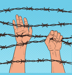 Pop art male hands holding a barbed wire vector