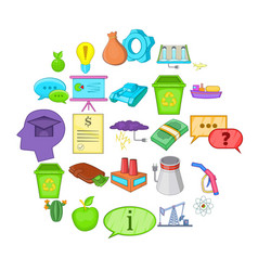 recycling icons set cartoon style vector image