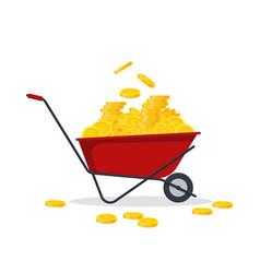 red wheelbarrow full of golden coins gold money vector image