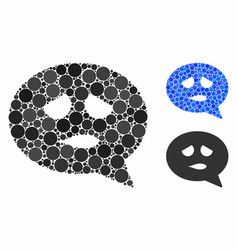 Sadly smiley message mosaic icon spheric items vector