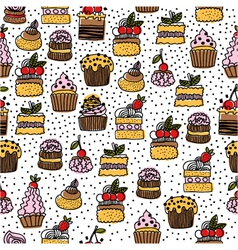 Seamless pattern of hand drawn cakes vector