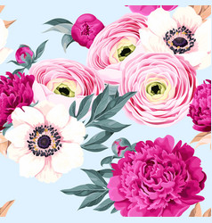 seamless pattern with peony and ranunculus vector image