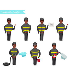 Set for animation of firefighters in uniform vector