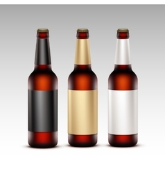 Set of Closed Glass Brown Bottles Dark Beer vector
