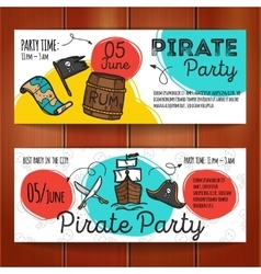 set of funny party flyers Colorful doodle vector image
