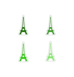 Set of paper stickers on white background Eiffel vector
