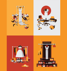set with bright interiors of boutique shop vector image