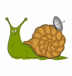 snail with satellite plate vector image