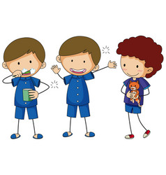 Three boys in blue pajamas vector