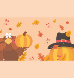 turkey pumpkins with pilgrim hat happy vector image