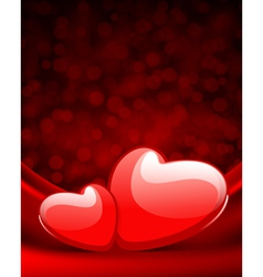 Two hearts on silk vector