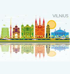 Vilnius skyline with color buildings blue sky vector