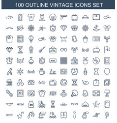 vintage icons vector image