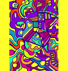 vivid psychedelic colorful surreal doodle pattern vector image