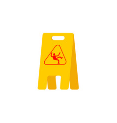 Wet floor yellow sign caution slippery accident vector