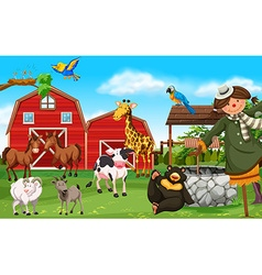 Wild animals and farm animals in farmyard vector