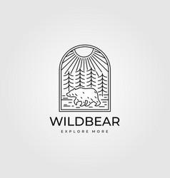 wild bear vintage adventure logo line art symbol vector image
