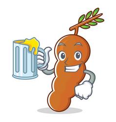 With juice tamarind mascot cartoon style vector
