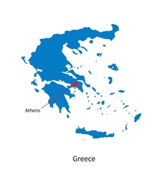 Detailed map of Greece and capital city Athens vector image vector image