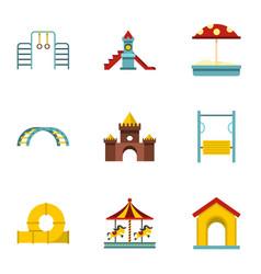 kids playground icons set flat style vector image