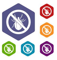 No bug sign icons set vector