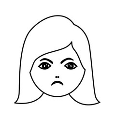 silhouette cartoon human female furious face vector image vector image