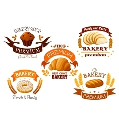Bakery shop emblem with bread and sweet cakes vector image vector image