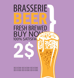 banner for brasserie with glass of beer vector image vector image
