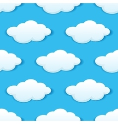 Blue sky with white clouds seamless pattern vector image