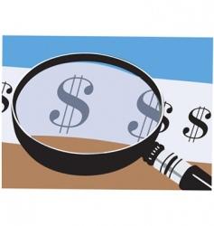 dollar magnifier vector image vector image