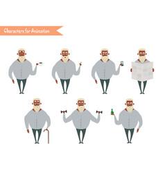 funny african american grandpa cartoon vector image