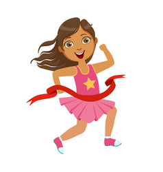 girl run to the finish line first a colorful vector image