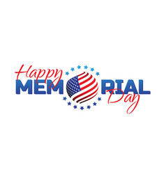 Happy memorial day sign with national flag colors vector