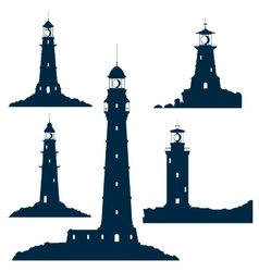 Lighthouses set isolated on white vector image vector image