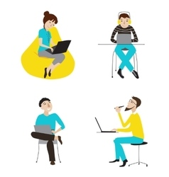 Business people working on laptops set vector image vector image