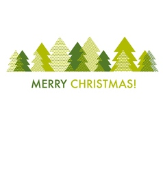 green Christmas tree card template of abstract vector image