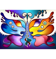 Multicolor butterfly wings as two half faces vector